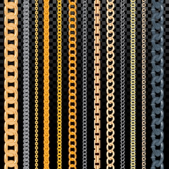 Cadena de vector patrón golden chainlet en línea o enlace metálico de joyería ilustración conjunto de cadena de cadena y collar aislado