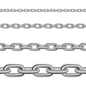 Cadenas de acero, conjunto realista horizontal.