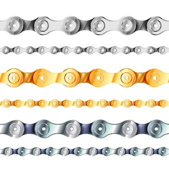 Cadenas para bicicletas y motocicletas, línea de cadena sin costuras en colores metal, oro y plata aislados