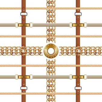 Cadenas y cinturones de patrones sin fisuras. adorno barroco con trenzas y muebles dorados.