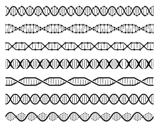 Cadenas de hélice de adn estructura de la molécula genética de doble hélice conjunto de códigos genéticos humanos