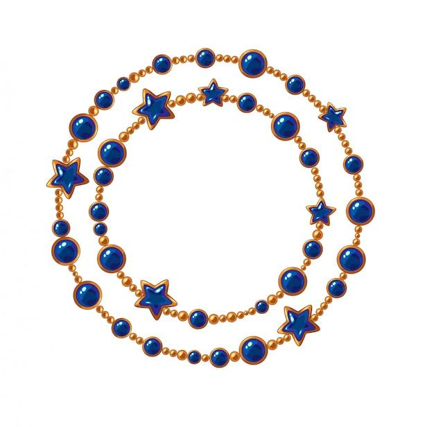 Cadenas de oro con gemas de colores.
