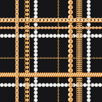 Cadenas de oro y perlas en patrón transparente negro de lujo