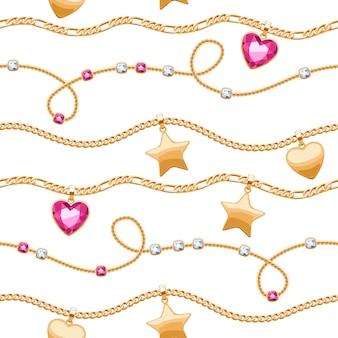 Cadenas de oro piedras preciosas blancas y rosas de patrones sin fisuras sobre fondo blanco. colgantes de estrella y corazón. ilustración de collar o pulsera. bueno para el lujo de banner de tarjeta de portada.
