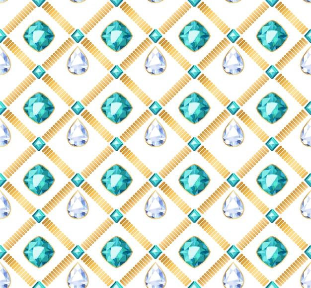 Cadenas de oro piedras preciosas blancas y verdes de patrones sin fisuras sobre fondo blanco. ilustración de colgantes en forma de gota. bueno para cartel de lujo de banner de tarjeta de portada.