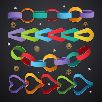 Cadenas de papel. enlaces de decoración de colores para plantillas de eventos navideños. cadena de enlace navideño hecho a mano, guirnalda de papel para ilustración de fiesta