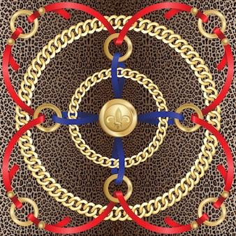 Cadenas de patrones sin fisuras sobre fondo de leopardo moda oro y estampado animal con joyas y cintas