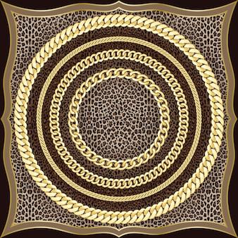 Cadenas de patrones sin fisuras sobre fondo de leopardo moda oro y estampado animal con joyas