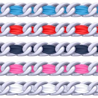 Cadenas de plata engastadas con cepillo de cinta de tela con hilos de colores. bueno para collar, pulsera, accesorio de joyería.