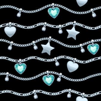 Cadenas de plata piedras preciosas blancas y verdes de patrones sin fisuras sobre fondo negro. colgantes de estrella y corazón. ilustración de collar o pulsera. bueno para el lujo de banner de tarjeta de portada.