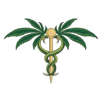 Caduceo de la farmacia de la medicina de cannabis