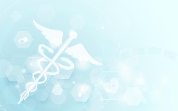 Caduceo médico símbolo ciencia concepto fondo