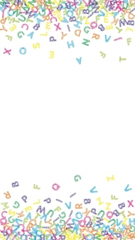 Caen letras del idioma inglés. boceto colorido volando palabras del alfabeto latino. concepto de estudio de lenguas extranjeras. bonito banner de regreso a la escuela sobre fondo blanco.