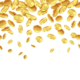 Caen monedas de oro. lluvia de dinero de oro, ganancias en efectivo en dólares, premio de casino de fortuna, muchas monedas voladoras realistas. antecedentes
