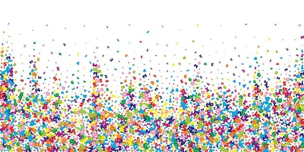 Caen números vívidos. concepto de estudio de matemáticas con dígitos voladores. interesante banner de matemáticas de regreso a la escuela sobre fondo blanco. ilustración de vector de números cayendo.