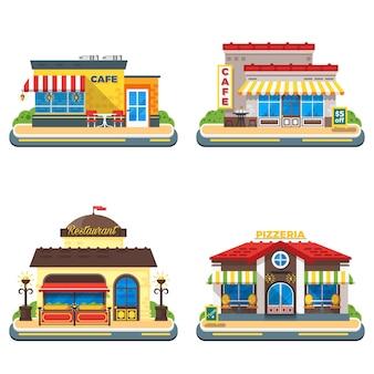 Cafe 2x2 iconos planos establecidos