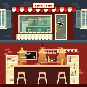 Cafe-bar fachada e interior en estilo plano.