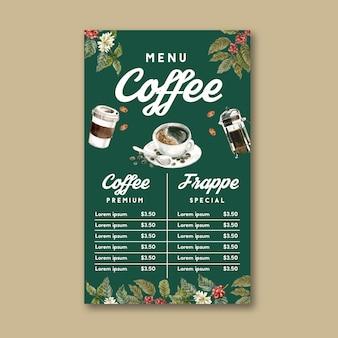 Café de la cafetería menú americano, capuchino, menú de espresso, infografía, ilustración acuarela