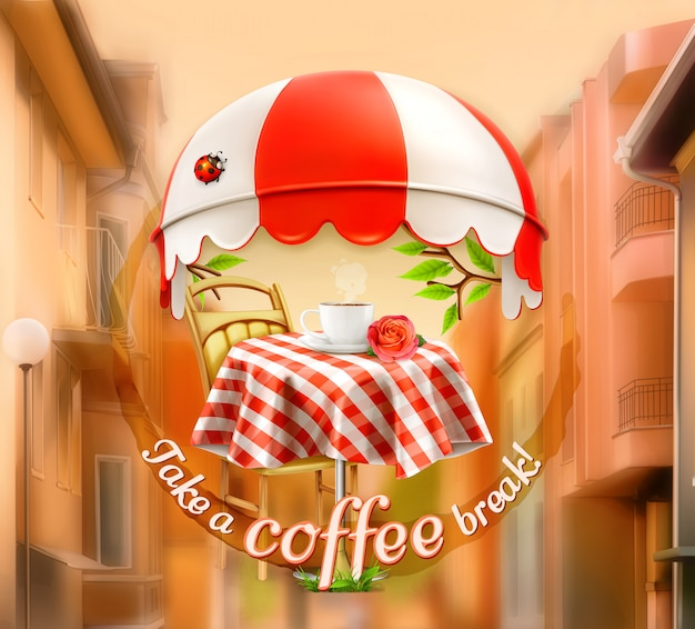 Café, cafetería y pastelería, una taza de café con rosas en una mesa, toldo con mariquita. calle, invitación a un descanso, almuerzo, letrero publicitario para cafeterías y cafeterías.