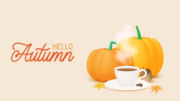 Café y calabazas con ilustración de vector de fondo de hojas de otoño