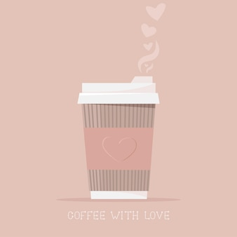 Café caliente en una taza de papel con amor. bebida caliente, café para llevar.