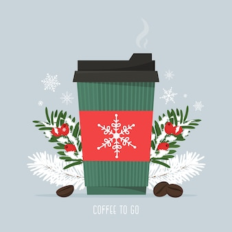 Café caliente en una taza de papel con granos de café y ramas de pino navideño temporada de nevadas bebida caliente café para llevar ilustración vectorial en estilo plano