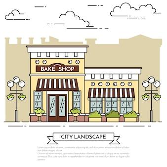 Café de la calle, panadería con las lámparas en el fondo blanco. ilustracion vectorial arte lineal.
