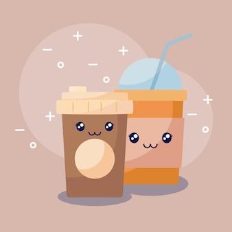 Café con carácter kawaii de batido de leche.
