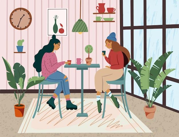 Café con chica sentada en las mesas, tomando café y trabajando. ilustración colorida en estilo de dibujos animados dibujados a mano plana escandinava de moda