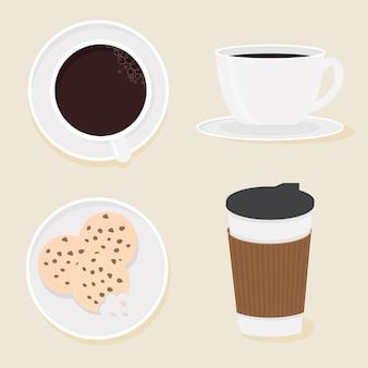Café y colección de galletas estilo plano.