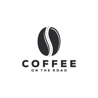 Café en el concepto de logo de carretera.