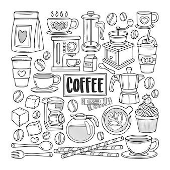 Café dibujado a mano doodle para colorear