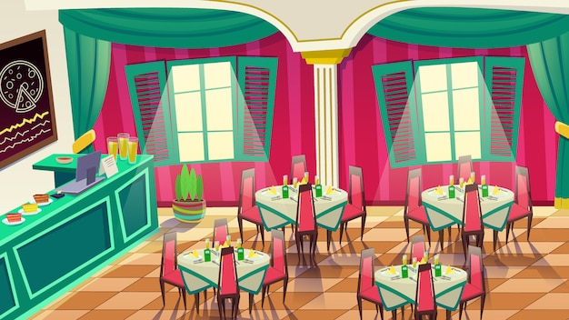 Cafe diseño de interiores. café, panadería o pizza bar.