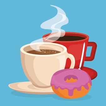 Café y donut comida deliciosa desayuno