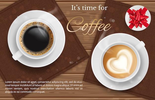 Café para dos: vista superior y presente de la taza de café realilstic, fondo de coffee break