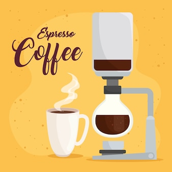 Café espresso, método de sifón sobre diseño de fondo amarillo