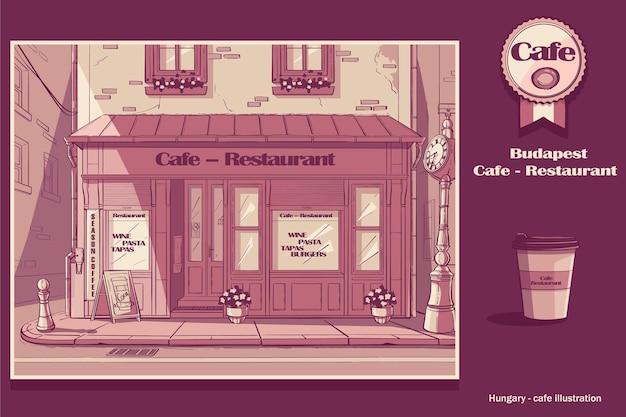Café de fondo en budapest, hungría.