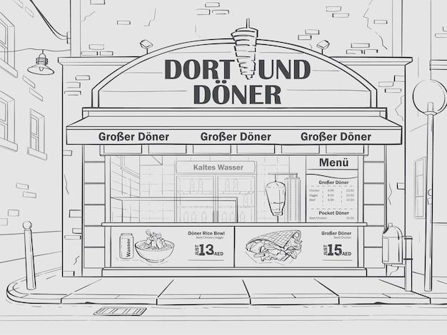 Café de fondo de contorno vectorial en dortmund, alemania. imagen de cafetería de comida rápida en blanco y negro.