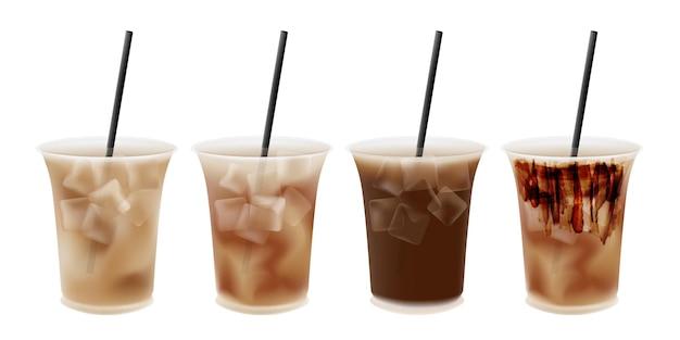 Café helado en vaso de plástico