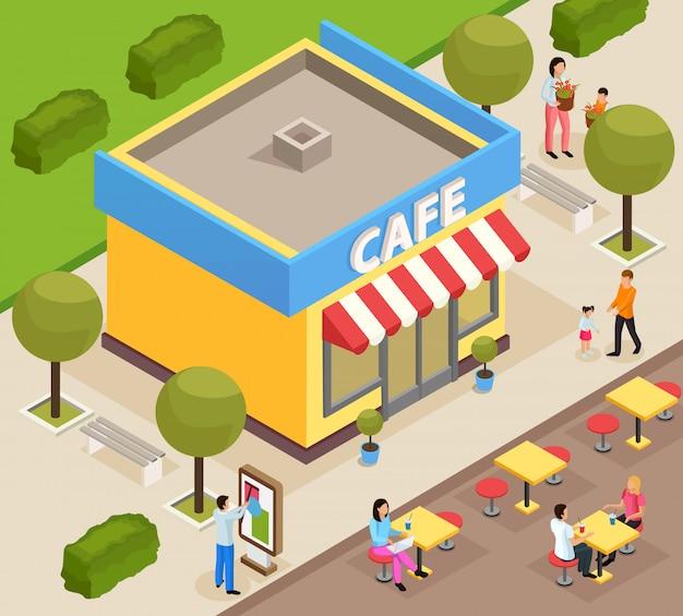 Café isométrico en la ciudad
