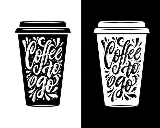 Café para llevar letras. comida para llevar tipografía de café