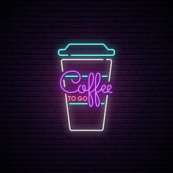 Café para llevar letrero de neón.