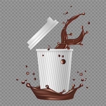 Café para llevar. taza de papel blanco, salpicaduras de café. chocolate caliente realista