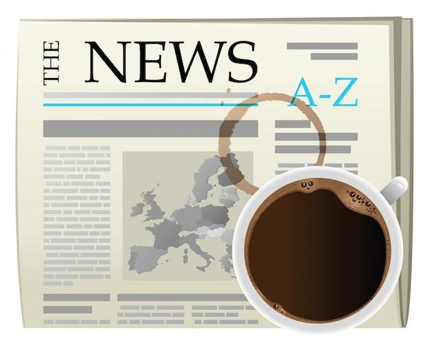 Café de luto y periódico