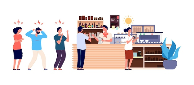 Cafe mañanero. cola de gente en la cafetería. trabajadores de oficina enojados y felices esperando bebidas ilustración. cola de café, dibujos animados masculinos y femeninos por la mañana