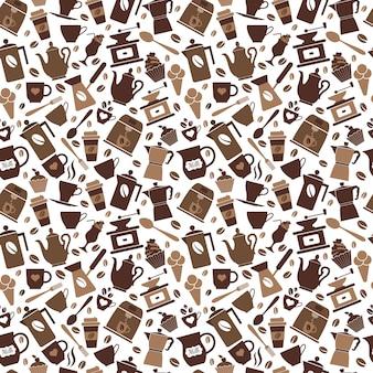 Café marrón de patrones sin fisuras