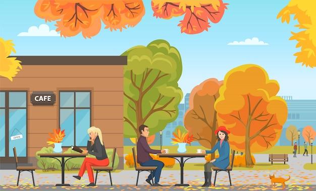 Cafe con mesas y personas, clientes vector