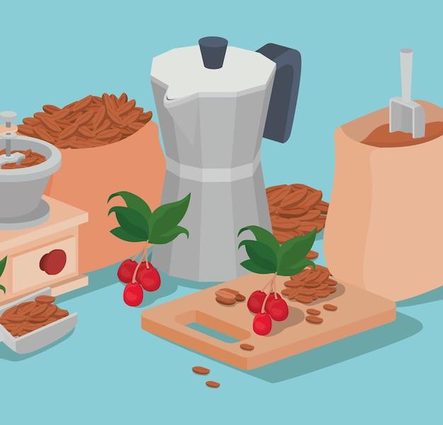Café moka olla bolsa amoladora frijoles bayas y hojas diseño de bebida cafeína desayuno y tema de bebidas.