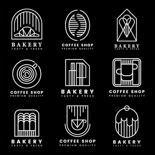 Café y pastelería tienda logo vector set