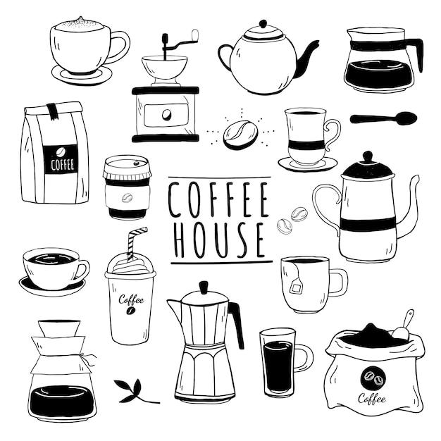 Cafe y patrón de casa de cafe